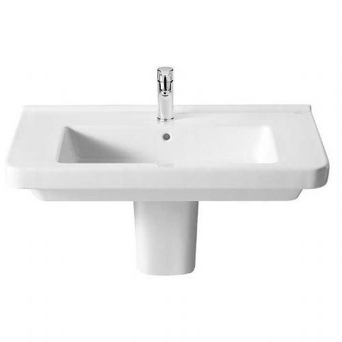 Roca Dama-N Square Basin With Semi Pedestal - 700mm - 1 Tap Hole - White